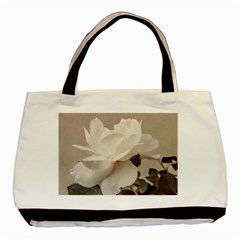 White Rose Vintage Style Photo In Ocher Colors Twin Sided Black Tote Bag by dflcprints