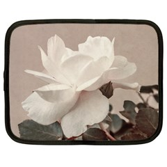 White Rose Vintage Style Photo In Ocher Colors Netbook Sleeve (large) by dflcprints