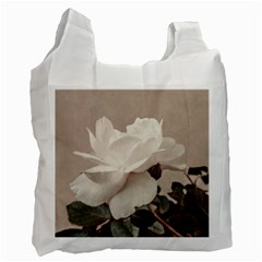 White Rose Vintage Style Photo In Ocher Colors White Reusable Bag (one Side) by dflcprints