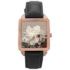 White Rose Vintage Style Photo In Ocher Colors Rose Gold Leather Watch  by dflcprints