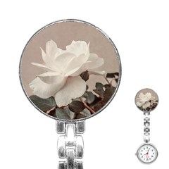 White Rose Vintage Style Photo In Ocher Colors Stainless Steel Nurses Watch by dflcprints