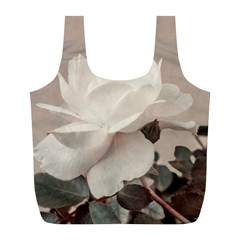 White Rose Vintage Style Photo In Ocher Colors Reusable Bag (l) by dflcprints
