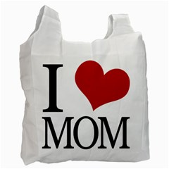 I Heart Mom White Reusable Bag (One Side) by designedwithtlc