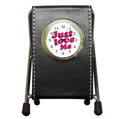 Just Love Me Text Typographic Quote Stationery Holder Clock by dflcprints