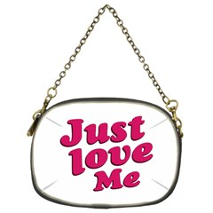 Just Love Me Text Typographic Quote Chain Purse (two Sided)  by dflcprints