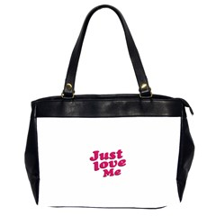 Just Love Me Text Typographic Quote Oversize Office Handbag (two Sides) by dflcprints