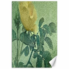 Yellow Rose Vintage Style  Canvas 12  X 18  (unframed) by dflcprints