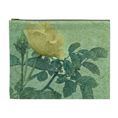 Yellow Rose Vintage Style  Cosmetic Bag (xl) by dflcprints