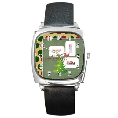 Merry Christmas By Betty   Square Metal Watch   Fshw4vi26z4e   Www Artscow Com Front