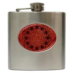 Grunge Style Geometric Mandala Hip Flask by dflcprints