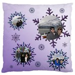 Snowflake Large Flano Cushion (2 sided) - Large Flano Cushion Case (Two Sides)