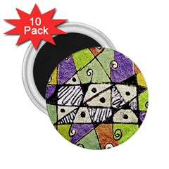 Multicolored Tribal Print Abstract Art 2 25  Button Magnet (10 Pack) by dflcprints
