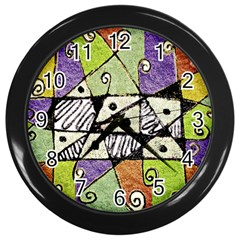 Multicolored Tribal Print Abstract Art Wall Clock (black) by dflcprints
