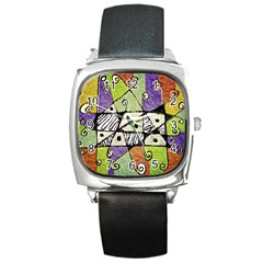 Multicolored Tribal Print Abstract Art Square Leather Watch by dflcprints