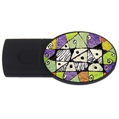 Multicolored Tribal Print Abstract Art 4gb Usb Flash Drive (oval) by dflcprints