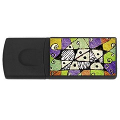 Multicolored Tribal Print Abstract Art 4gb Usb Flash Drive (rectangle) by dflcprints