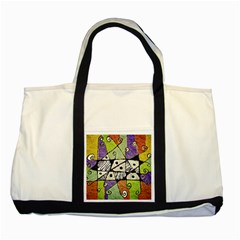 Multicolored Tribal Print Abstract Art Two Toned Tote Bag by dflcprints