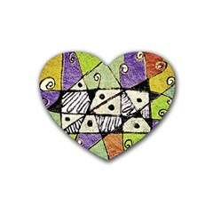 Multicolored Tribal Print Abstract Art Drink Coasters (heart) by dflcprints