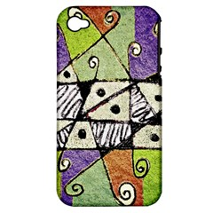 Multicolored Tribal Print Abstract Art Apple Iphone 4/4s Hardshell Case (pc+silicone) by dflcprints
