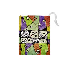 Multicolored Tribal Print Abstract Art Drawstring Pouch (small) by dflcprints