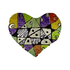 Multicolored Tribal Print Abstract Art 16  Premium Flano Heart Shape Cushion  by dflcprints