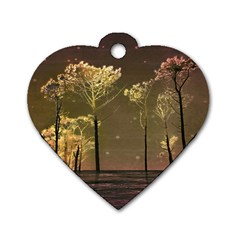Fantasy Landscape Dog Tag Heart (two Sided) by dflcprints