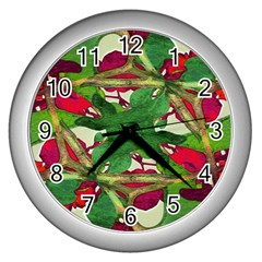 Floral Print Colorful Pattern Wall Clock (silver) by dflcprints