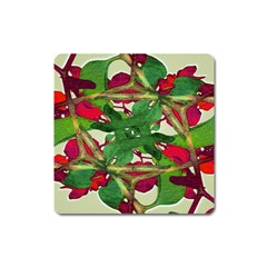 Floral Print Colorful Pattern Magnet (square) by dflcprints