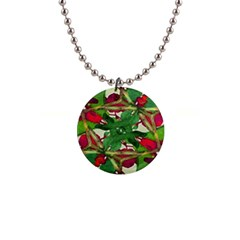 Floral Print Colorful Pattern Button Necklace by dflcprints