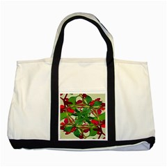 Floral Print Colorful Pattern Two Toned Tote Bag by dflcprints