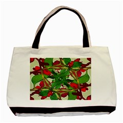 Floral Print Colorful Pattern Twin Sided Black Tote Bag by dflcprints