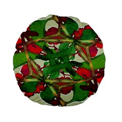 Floral Print Colorful Pattern 15  Premium Flano Round Cushion  by dflcprints