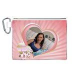 Pink Heart Canvas Cosmetic Bag (Large)