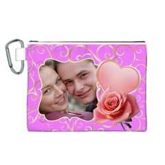 Pink Sweet Love Canvas Cosmetic Bag (large) By Deborah   Canvas Cosmetic Bag (large)   W9w8lp32ocyc   Www Artscow Com Front