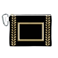 Black And Gold Canvas Cosmetic Bag (large) By Deborah   Canvas Cosmetic Bag (large)   Svepnkh3xo78   Www Artscow Com Front
