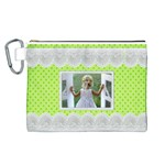 Lime and lace Canvas Cosmetic Bag (Large)