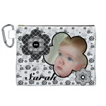 Black and White Canvas Cosmetic Bag (XL)