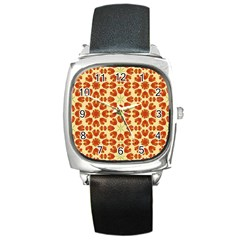 Colorful Floral Print Vector Style Square Leather Watch by dflcprints