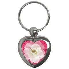 White Rose With Pink Leaves Around  Key Chain (heart) by dflcprints