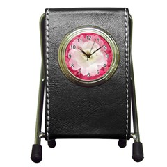 White Rose With Pink Leaves Around  Stationery Holder Clock by dflcprints
