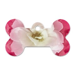 White Rose With Pink Leaves Around  Dog Tag Bone (one Sided) by dflcprints