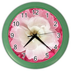 White Rose With Pink Leaves Around  Wall Clock (color) by dflcprints