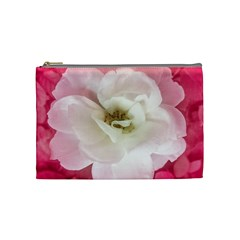 White Rose With Pink Leaves Around  Cosmetic Bag (medium) by dflcprints