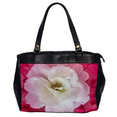 White Rose With Pink Leaves Around  Oversize Office Handbag (one Side) by dflcprints