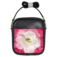White Rose With Pink Leaves Around  Girl s Sling Bag by dflcprints
