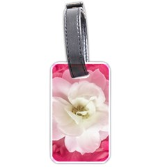 White Rose With Pink Leaves Around  Luggage Tag (two Sides) by dflcprints