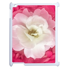 White Rose With Pink Leaves Around  Apple Ipad 2 Case (white) by dflcprints