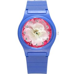 White Rose With Pink Leaves Around  Plastic Sport Watch (small) by dflcprints
