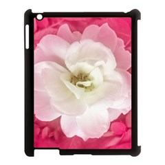 White Rose With Pink Leaves Around  Apple Ipad 3/4 Case (black) by dflcprints