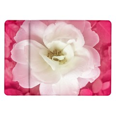 White Rose With Pink Leaves Around  Samsung Galaxy Tab 10 1  P7500 Flip Case by dflcprints
